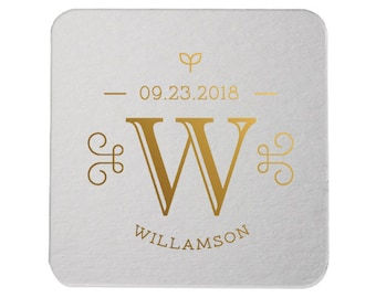Custom Coasters, Wedding Coasters, Rose Gold Foil, Personalized Coasters, Party Coasters, Wedding Favor, Bridal Shower, Party Favor 298