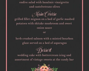 Chalkboard Wedding Wedding Reception Menu / Personalized Reception Menus / Custom Dinner Menu / Chalkboard Wedding / Vintage Wedding