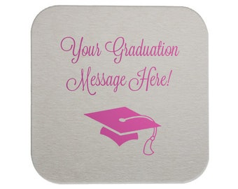 Graduation Coasters, Personalized with your text & colors, Custom Grad Coasters, Class of 2019, name coaster, Graduation Party, Coasters 221