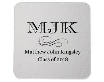 Graduation Coasters, Personalized Coasters, Custom Grad Coasters, Class of 2019, name coaster, Congrats Grad, Graduation Party, Coasters 228