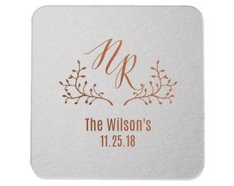 Custom Wedding Monogram, Drink Coasters, Wedding Coasters, Custom Favors, Gold Foil, Wedding Favors, Personalized Favors, Bar Coasters 285