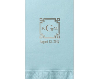 Personalized Guest Towels Bathroom Restroom Hand Towels Dinner Napkins Wedding Paper Hostess Gift Monogram customize your colors 245