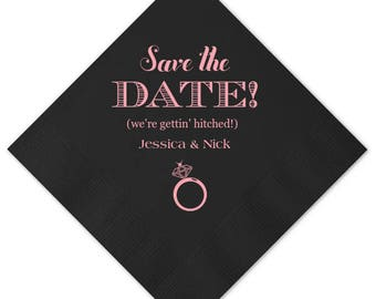 Engagement Napkins, Personalized Cocktail Napkins, Engagement Party Napkins, Save the Date, Napkins, Event Napkins, Party Napkins 49