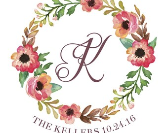 Custom Wedding Monogram / Personalized Monogram / Vintage Wedding /Wreath / Custom Monogram / Wedding Stationery / Wedding Invitation