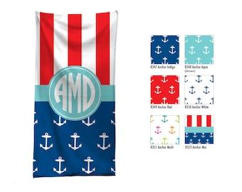 Personalized Beach Towel / Custom Pool Towel / Personalized Beach Towel / Monogrammed Beach Towel / Nautical / Hostess Gift / Palm Tree