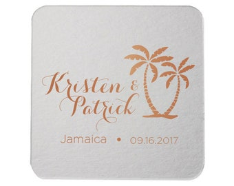 Custom Coasters, Wedding Coasters, Rose Gold Foil, Personalized Coasters, Party Coasters, Wedding Favor, Bridal Shower, Party Favor 154