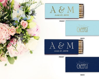 Monogrammed Wedding Matches, Personalized Wedding Matches, Custom Matchbook Wedding Monogram Favors, Custom Printed Matches, matchbook 60