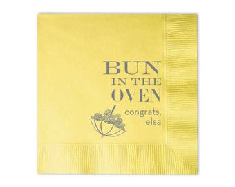 Baby Shower Napkins, Personalized Cocktail Napkins, Custom Baby Shower Napkins, Gender Reveal, Bun in the Oven, Hand Towel, Party 95