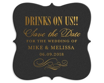 Custom Coasters, Wedding Coaster, Rustic Wedding, Save the Date, Personalized Coaster, Bar Coaster, Custom Wedding Favors, Coaster, 162