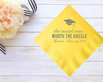 Custom Graduation Cocktail Napkins & Guest Towels –Personalized Graduate Cocktail Napkins / Guest Towels – Custom Graduation Party Napkins