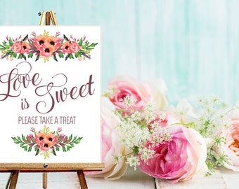 Instant Download Wedding Love Is Sweet Take a Treat Sign / Chalkboard Wedding /  Instant Download / Vintage Wedding / Sweet Table