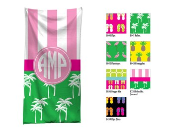 Personalized Beach Towel / Custom Pool Towel / Personalized Beach Towel / Monogrammed Beach Towel / Custom Monogram Hostess Gift / Palm Tree