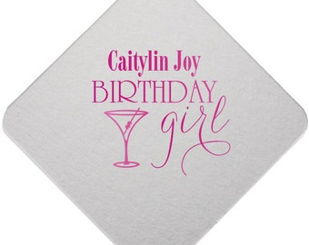 Birthday coasters, personalized coasters, paper coasters, reception coaster, Adult birthday favor, foil stamped coasters Party Coaster 149