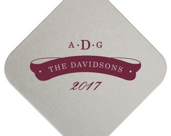 Personalized Coasters Wedding – Paper Drink Coasters Customized with Name, Monogram, Event Date in 7 Shapes and 50 Ink Colors  264 Coaster