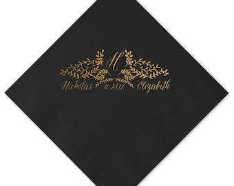 Wedding Napkin, Custom Napkin, Foil, Personalized Napkin, Fun Party Napkin, Engagement Napkin, Cocktail Napkins, Party Napkins 243