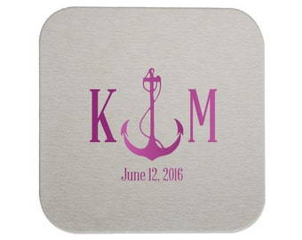 Nautical Drink Coaster, Custom Coasters, Wedding Coasters, Custom Favors, Gold Foil, Wedding Favors, Personalized Favors, Bar Coasters 17