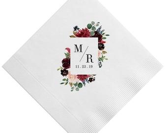 Full Color 3 Ply Beverage Napkins, Chose your florals, monogram & Color - Cake Napkins, Monogrammed Wedding Napkins, Bridal Shower Napkin