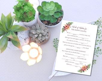 Instant Download Wedding Mad Lib / Wedding Advice  //  Wedding Mad Libs / Instant Download