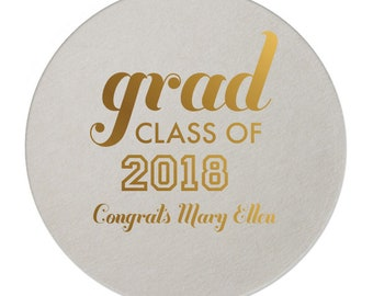 Graduation Coasters, Personalized Coasters, Custom Grad Coasters, Class of 2019, name coaster, Congrats Grad, Graduation Party, Coasters 222