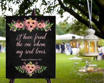 Instant Download Chalkboard Wedding Verse Sign / Chalkboard Wedding / I have found the one // Instant Download / Vintage Wedding