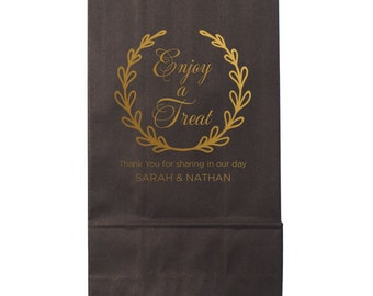 Enjoy a Treat Personalized Treat Bag, Wedding Favor Bags for Donuts, Cookies and Candy Buffets