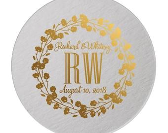 Custom Wedding Monogram, Drink Coasters, Wedding Coasters, Custom Favors, Gold Foil, Wedding Favors, Personalized Favors, Bar Coasters 296