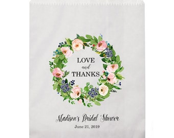 Bridal Shower Favor Bags, Personalized Thank You Bags, Printed Favor Bags, Custom Favor Bags, Wedding Favor Bags, Custom Goodie Bag