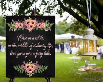 Instant Download Chalkboard Fairy Tale Sign / / Chalkboard Wedding / Wedding Sign / / Instant Download