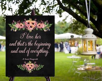 Instant Download Chalkboard Wedding I love Her Gatsby Sign / Chalkboard Wedding / I love Her // Instant Download / Vintage Wedding