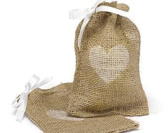 Burlap Heart Favor Bags / Wedding Favor Bag / Rustic Burlap Favor / Wedding Shower Favor / Wedding Favor /