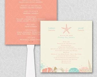 Beach Wedding Program Fan / Personalized Fan Program / Beach Wedding / Wedding Fan / Wedding Sign Wedding Stationery Day of Stationery