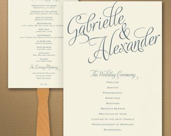 Wedding Program Fan / Personalized Fan Program / Wedding Fan / Vintage Wedding Wedding Sign Wedding Stationery Day of Stationery