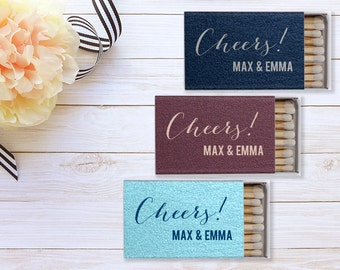Cheers Personalized Wedding Matchboxes, Cigar Station, Custom Wedding Matches, Personalized Wedding Favor, Foil Printed Matchbooks 86