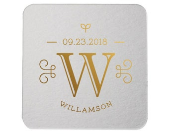 Custom Coasters, Wedding Coasters, Rose Gold Foil, Personalized Coasters, Party Coasters, Wedding Favor, Bridal Shower, Party Favor 298