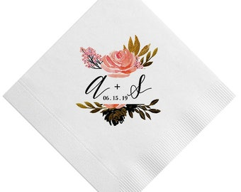 Custom Floral Monogram & Bouquet Napkins, Personalized with initials, Housewarming Gift, Wedding, Shower, Floral Initials, Flower 334