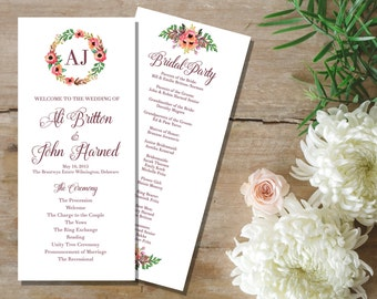 Wedding Ceremony Program / Personalized Program / Custom Wedding Program /  Vintage Wedding