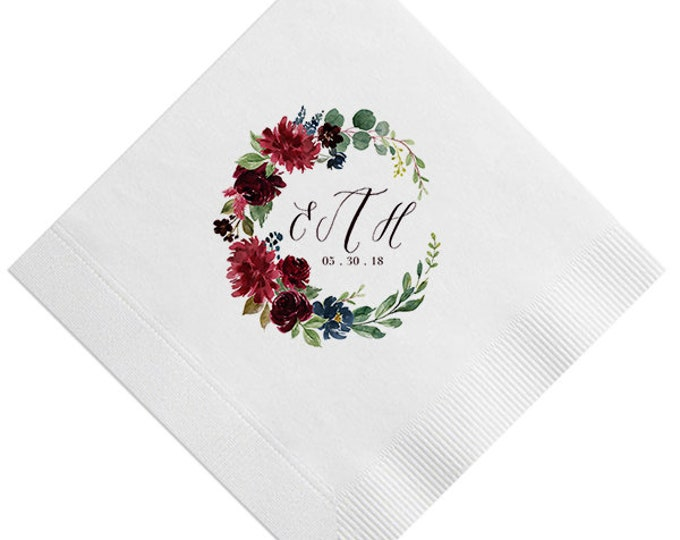 Featured listing image: Custom Floral Monogram & Bouquet Napkins, Personalized with initials, Housewarming Gift, Wedding, Shower, Floral Initials, Flower 354