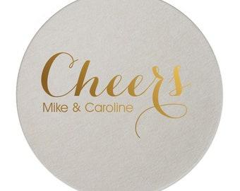 Wedding Coasters, Personalized Coasters, Custom Coaster, Drink Coaster, Bar Coaster, Wedding Favors, Gold Foil Coaster, Name Coaster 198
