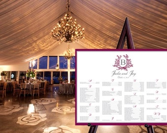 Printable Custom Laurel Wreath Monogram Seating Chart / Wedding Seating Chart / Vintage Wedding / Wedding Sign / Laurel Wreath