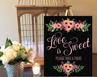Instant Download Chalkboard Wedding Love Is Sweet Take a Treat Sign / Chalkboard Wedding /  Instant Download / Vintage Wedding / Sweet Table