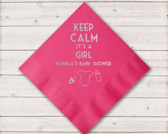 Personalized Shower Napkins, Baby Shower Cocktail, Custom Napkins, Party Napkins, Shower Napkin, Gender Reveal Party, It's a Girl
