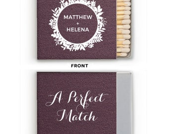 Custom Wedding Matches with Names, Personalized Wedding Favor, Custom Printed Matchboxes, Personalized Wedding Matches, Monogram Matches 267