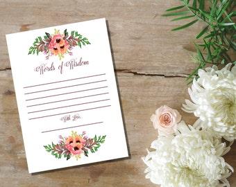 Instant Download Wedding Words of Wisdom / Wedding Advice  //  Wedding Mad Libs / Instant Download