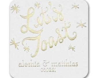 Personalized Custom Coasters, Wedding Coasters, Party Coasters, Wedding Favors, Printed Coasters, Personalized Coaster, Rose Gold Foil 174