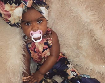 Floral bellbottom Overalls Set/Headwrap | Claire & Bellas Collection