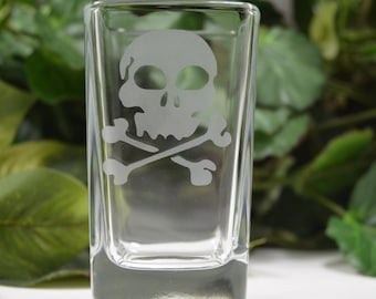 Shot Glass ~ Etched Shot Glass ~ Etched Skull Shot Glass ~ Etched Shot Glass