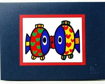 Fish in Love card. Valentine card. Romantic card.Illustration.Art card. Single card. Blank inside.
