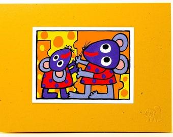 Mice Family Card.Kids card. Mom and kid card.Fun animal card.Love card.Single card. Blank inside.