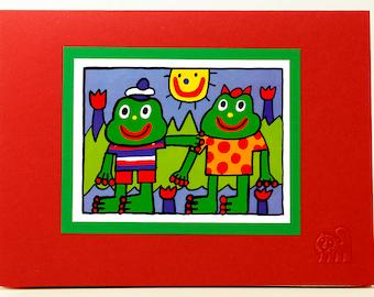 Frog Friends Card.Love card.Kids card.Fun animal card.Art print card. Single card. Blank inside.