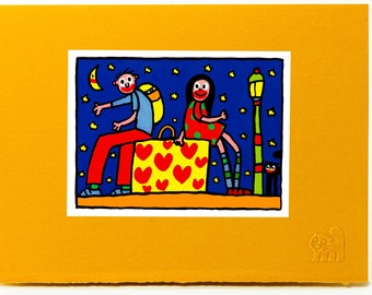 Love in a Suitcase.Valentine card.Love card.Art print card.Cat card. Single card. Blank inside.
